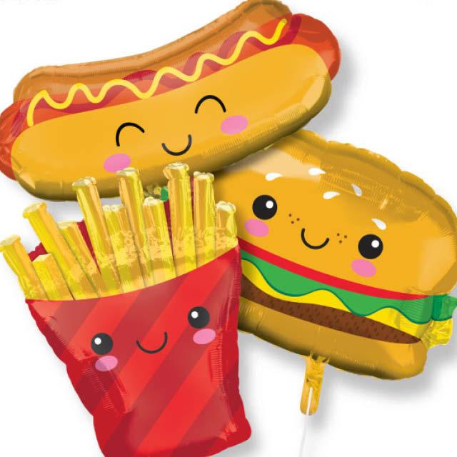 Helium Ballon Fast Food 70 CM, patat ballon, ballon van patat, hamburger ballon, hotdog ballon, hotdog kado, hamburger kado, hamburger versiering, fastfood versiering, fastfood ballonnen.