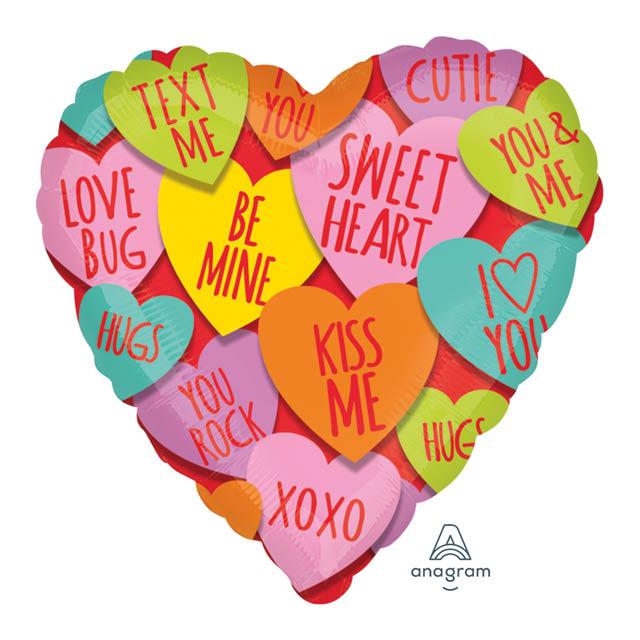 Helium Ballon Liefdes Berichtjes 45 CM, ove, liefde, liefdesballon, ballon versturen, ballon cadeau, kadoballon, love you ballon, liefdesballon, valentijnsballon, ballon versturen , ballon per post, ballonpost