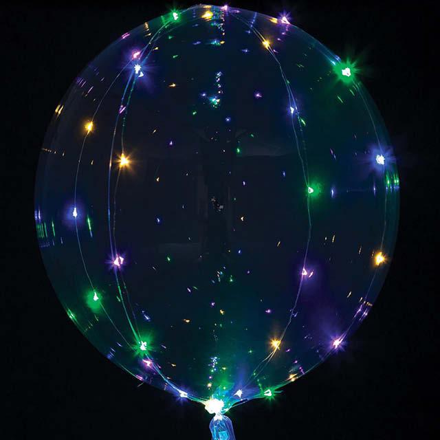 Helium Ballon Bol met gekleurde Led Lampjes, ballon met led lampjes, zwevende ballon met ledlampjes, feestballon, ballon versturen