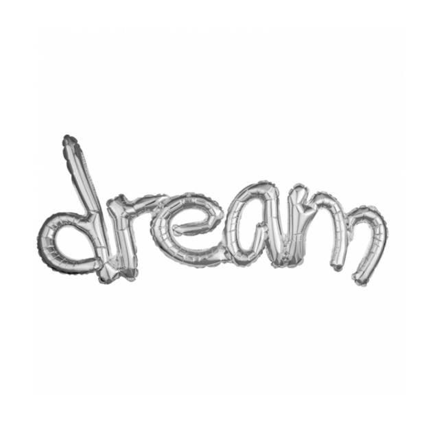 Ballon Letters Dream Zilver 93CM, ballon versturen, ballon per post. lucht ballon, Greetz ballon