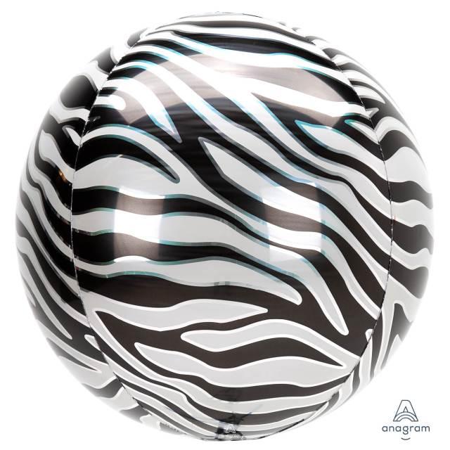 Helium Ballon Zebraprint Bol 40 CM, ballon versturen, ballon per post, Greetz ballon, goedkope ballon, helium ballon