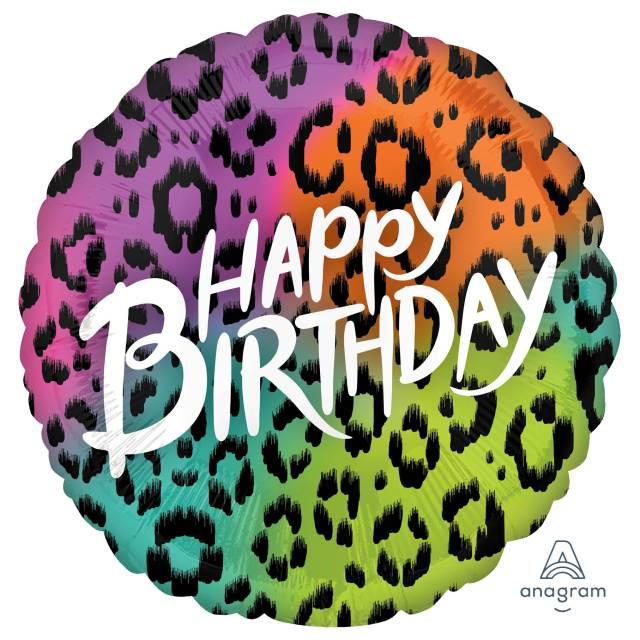 Helium Ballon Gekleurde Verjaardag 71 CM , ballon versturen, ballon per post, Greetz ballon, print ballon, panter print, verjaardag ballon