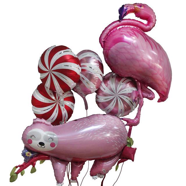 Helium Ballon Boeket Pink Party, ballon versturen, ballon per post, leuke ballon, ballon tros, decoratie ballonnen, ballon versiering