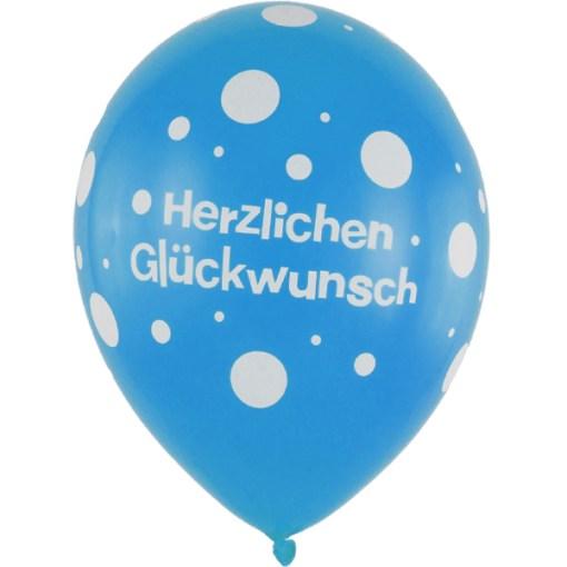 Latexballon 28cm Herzlichen Glueckwunsch blau 1