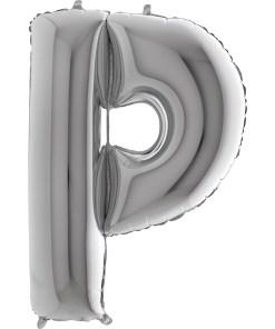 Buchstabe P, SILBER, Folienballon H102cm