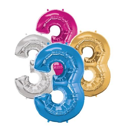 Folie Zahl 3 diverse Farben
