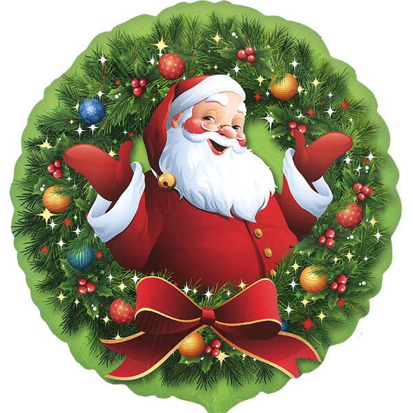 Weihnachtsmann im Kranz Folienballon rund 45cm