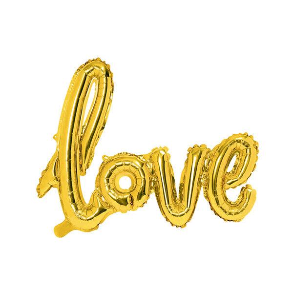 Folienballon Schriftzug Love, gold, 73x59cm