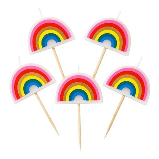 Geburtstagskerze Regenbogen Set 5 Stück