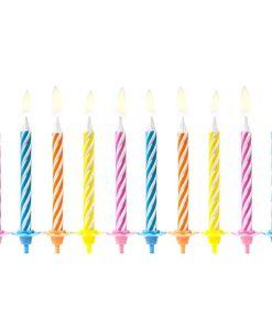 Geburtstagskerzen, bunter Mix mit Streifen, 6 cm, 10 Stück