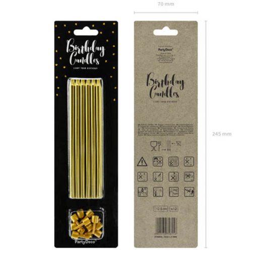 Geburtstagskerzen, einfarbig, gold, 12,5cm, 12 Stück Packung vor und rück