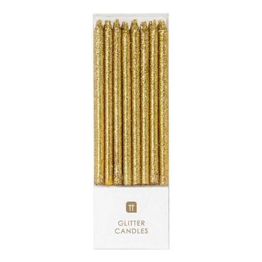 Geburtstagskerzen Gold Glitzer Packung