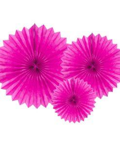 Partyfächer, dark pink, 20cm,30cm,40cm, 1Pckng 3 Stck