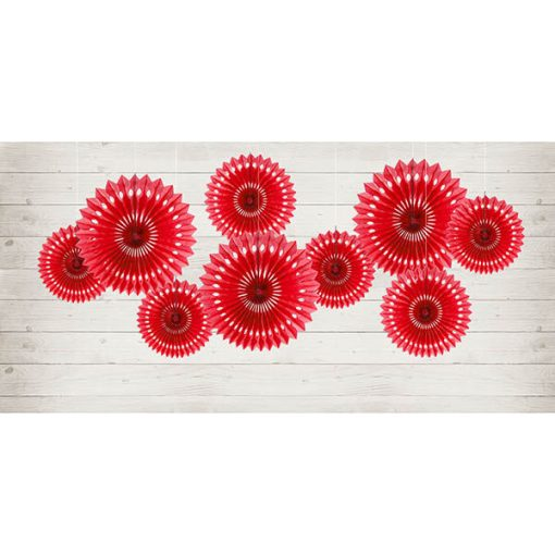 Dekofächer mit Lochmuster, red, 3er Pack, versch. Größen Dekobeispiel