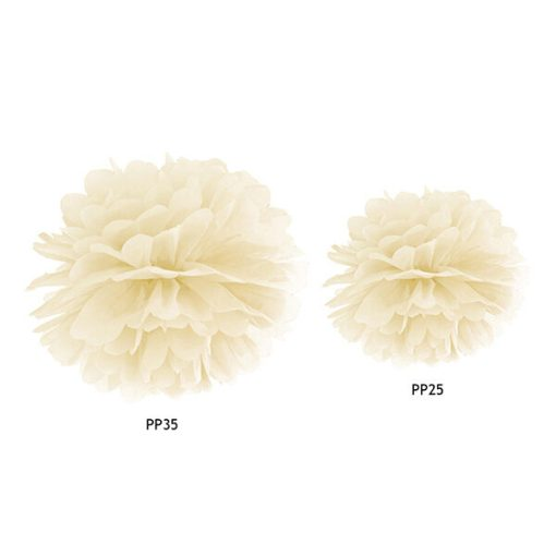 Pompom, Seidenpapier, cream, 25cm und 35cm Größenvergleich