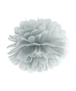 Pompom, Seidenpapier, silver, 35cm