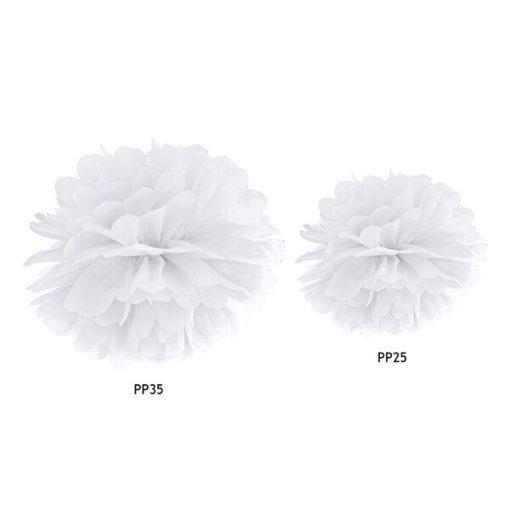 Pompom, Seidenpapier, white, 25cm und 35cm Größenvergleich