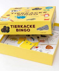 Tierkacke_Bingo, 48Spielkarten, 8 Bingokarten, Spielbrett_220x220x55mm Box offen
