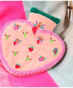 Wärmflasche Heart Minihearts 100ProzentBaumwolle-Samt Kunststoff 25x18 cm Dekobeispiel