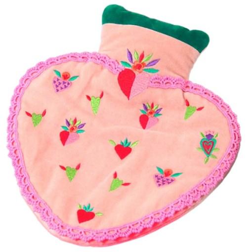 Wärmflasche Heart Minihearts 100ProzentBaumwolle-Samt Kunststoff 25x18 cm