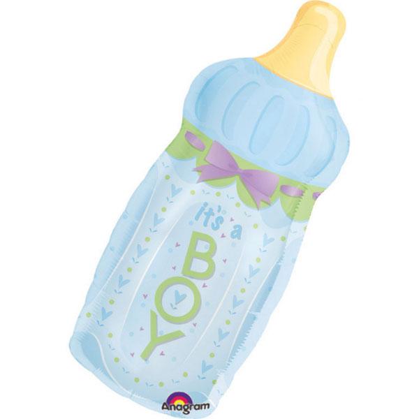 Flasche mit Schleife, Blau, H79cm