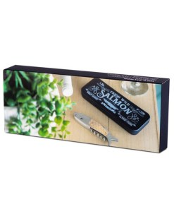 KORKENZIEHER WILD SALMON ZINN Stahl,Holz, 205x17,8x7cm verpackung