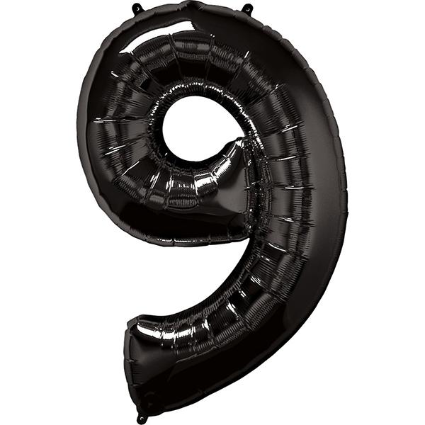 Zahl 9 Schwarz Folienballon H102cm