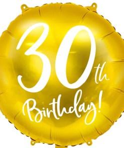 30th Birthday, Folienballon, gold mit weißer Schrift, 45cm
