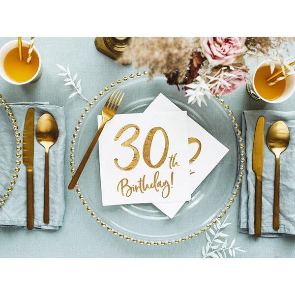 30th Birthday, Servietten, weiß mit goldenem Schriftzug, dreilagig, 20 Stk., 33 x 33 cm, Dekobeispiel