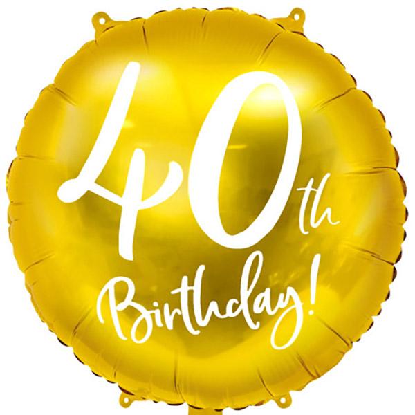 40th Birthday, Folienballon, gold mit weißer Schrift, 45cm