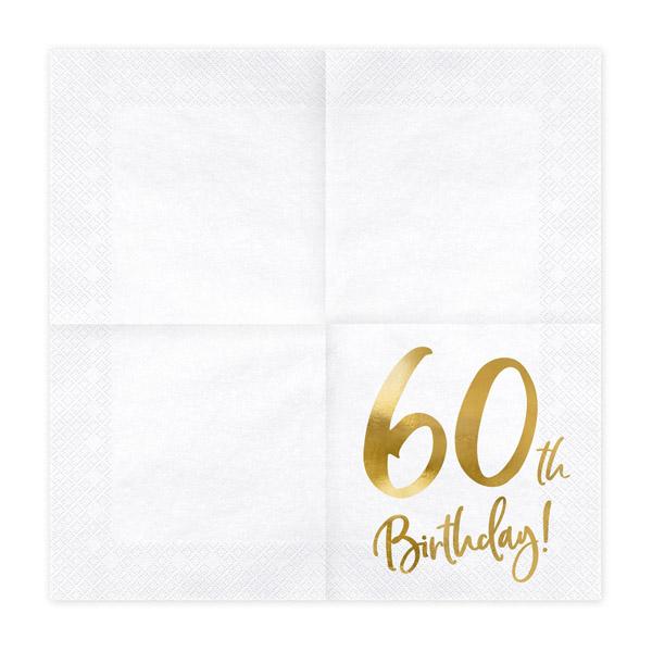 60th Birthday, Servietten, weiß mit goldenem Schriftzug, dreilagig, 20 Stk., 33 x 33 cm, entfaltet