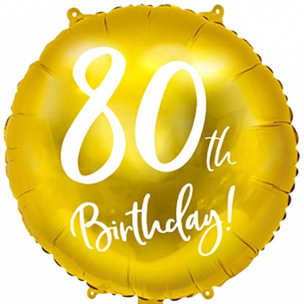 80th Birthday, Folienballon, gold mit weißer Schrift, 45cm