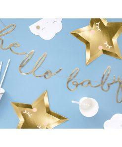 Banner hello baby, Pappe spiegel-gold, Kordel weiß, 18 x 70cm, Dekobeispiel 1