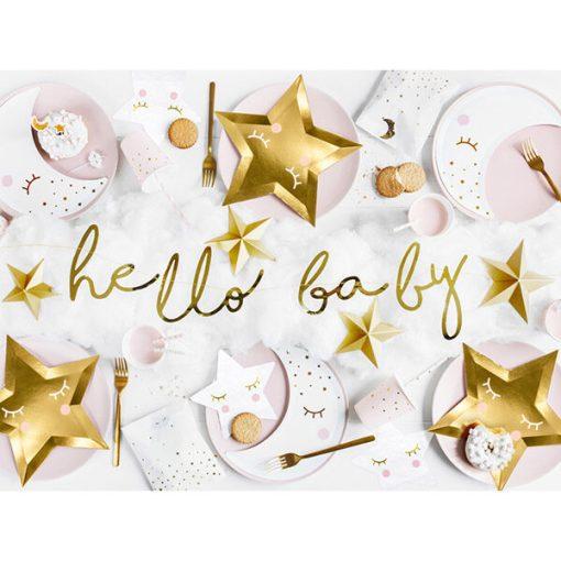 Banner hello baby, Pappe spiegel-gold, Kordel weiß, 18 x 70cm, Dekobeispiel 3