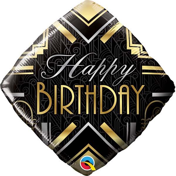 Birthday Art Deco, HB, Quadratballon-Raute, schwarz-silber-gold, 46cm