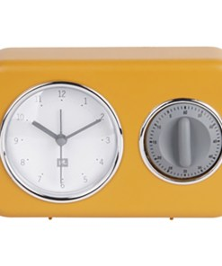 Clock with kitchen timer Nostalgia ochre yellow W. mouse grey timer, 17x11x6cm, Excl. 1 AA batt. front