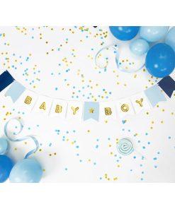 Fahnenkette BABY BOY, Pappe blau-weiß, Golddruck, Kordel weiß 15 x 160cm, Dekobeispiel 1