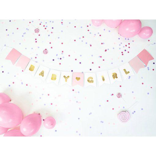 Fahnenkette BABY GIRL, Pappe rosa-weiß, Golddruck, Kordel weiß 15 x 175cm Beispielbild 1