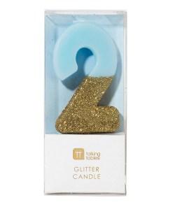 Geburstagskerze, Kuchenkerze, Zahl, blau, gold, glitzer, circa 6cm, Verpackung, 2