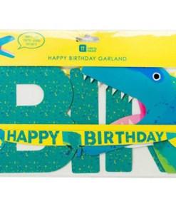 Girlande HAPPY BIRTHDAY, Dino, T-Rex, Pappe bunt, L 2,5 m, Verpackung