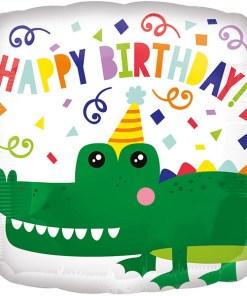 Happy Birthday, Krokodil, Folienballon, quadratisch, 45cm