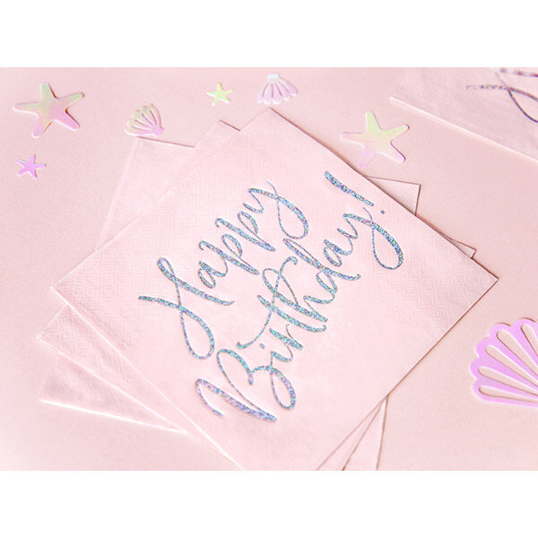 Happy Birthday, Servietten, hell puder rosa, mit holografischem Schriftzug, dreilagig, 20 Stk., 33 x 33 cm, Dekobeispiel 2