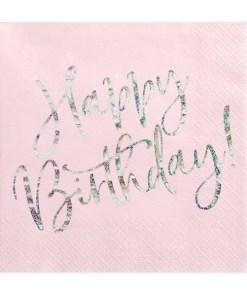 Happy Birthday, Servietten, hell puder rosa, mit holografischem Schriftzug, dreilagig, 20 Stk., 33 x 33 cm