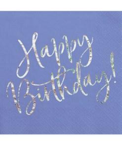 Happy Birthday, Servietten, königsblau mit holografischem Schriftzug, dreilagig, 20 Stk., 33 x 33 cm