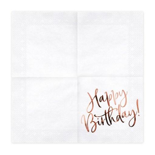Happy Birthday, Servietten, weiß mit roségoldenem Schriftzug, dreilagig, 20 Stk., 33 x 33 cm, entfaltet