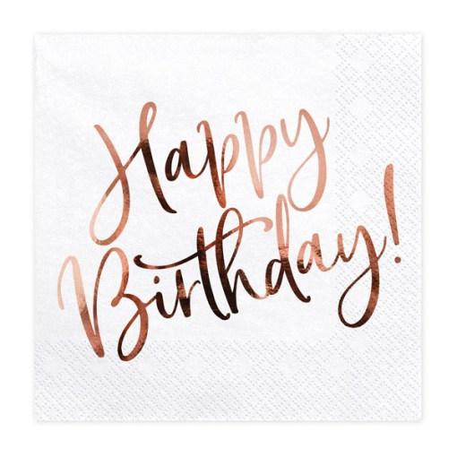 Happy Birthday, Servietten, weiß mit roségoldenem Schriftzug, dreilagig, 20 Stk., 33 x 33 cm