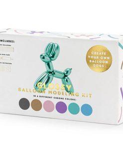 Modellierballon-Kit, 6 Chromefarben sort. a 130 cm, Anleitung, Pumpe, Packung