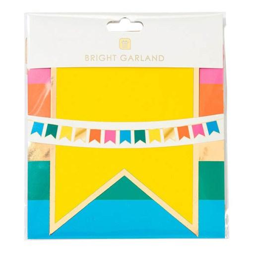 Fahnenkette, Wimpelkette, 6 verschiedene Farben, circa 3m lang, Eingepackt