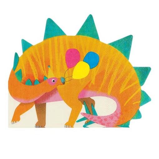 Servietten in Dinoform, orange/grün/bunte Ballons, 16er Pack
