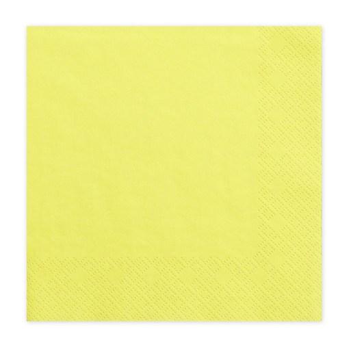 Servietten, gelb, dreilagig, 20 Stk., 33 x 33 cm